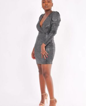 robe noire brillante Jaya-shop