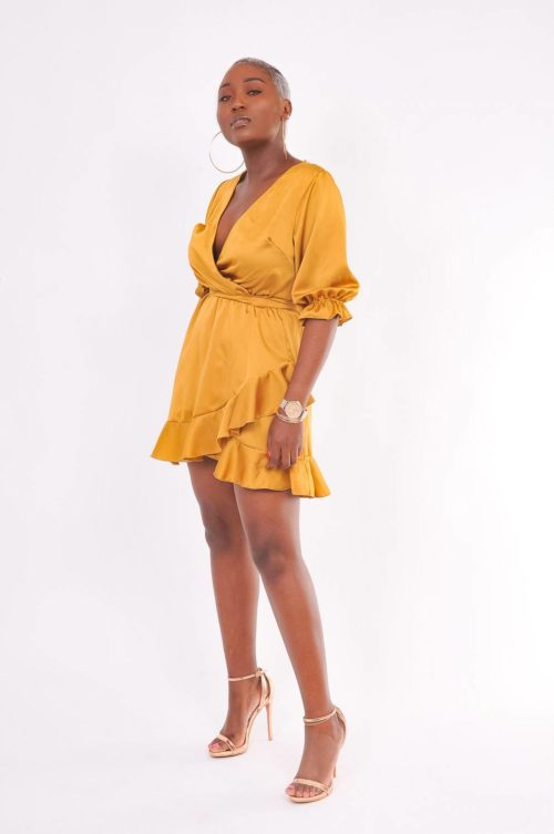 robe satin moutarde Jaya-shop