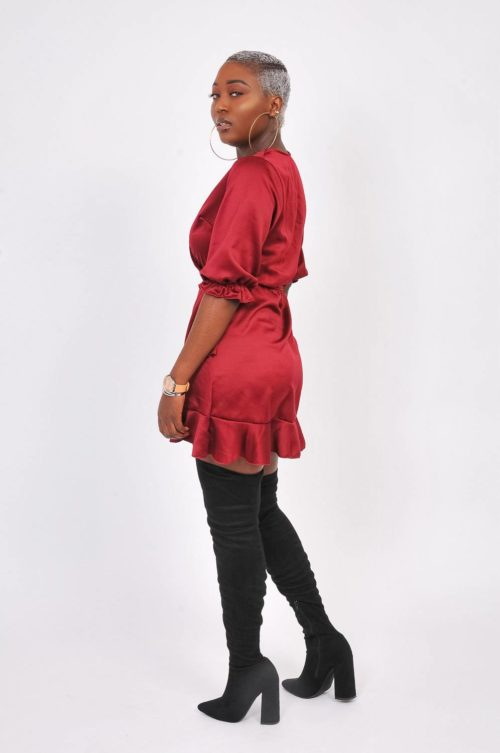 robe satin rouge Jaya-shop